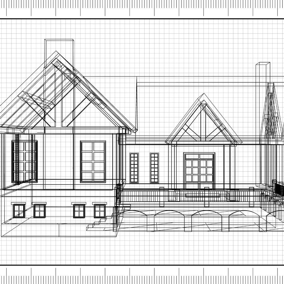 Log home sketch