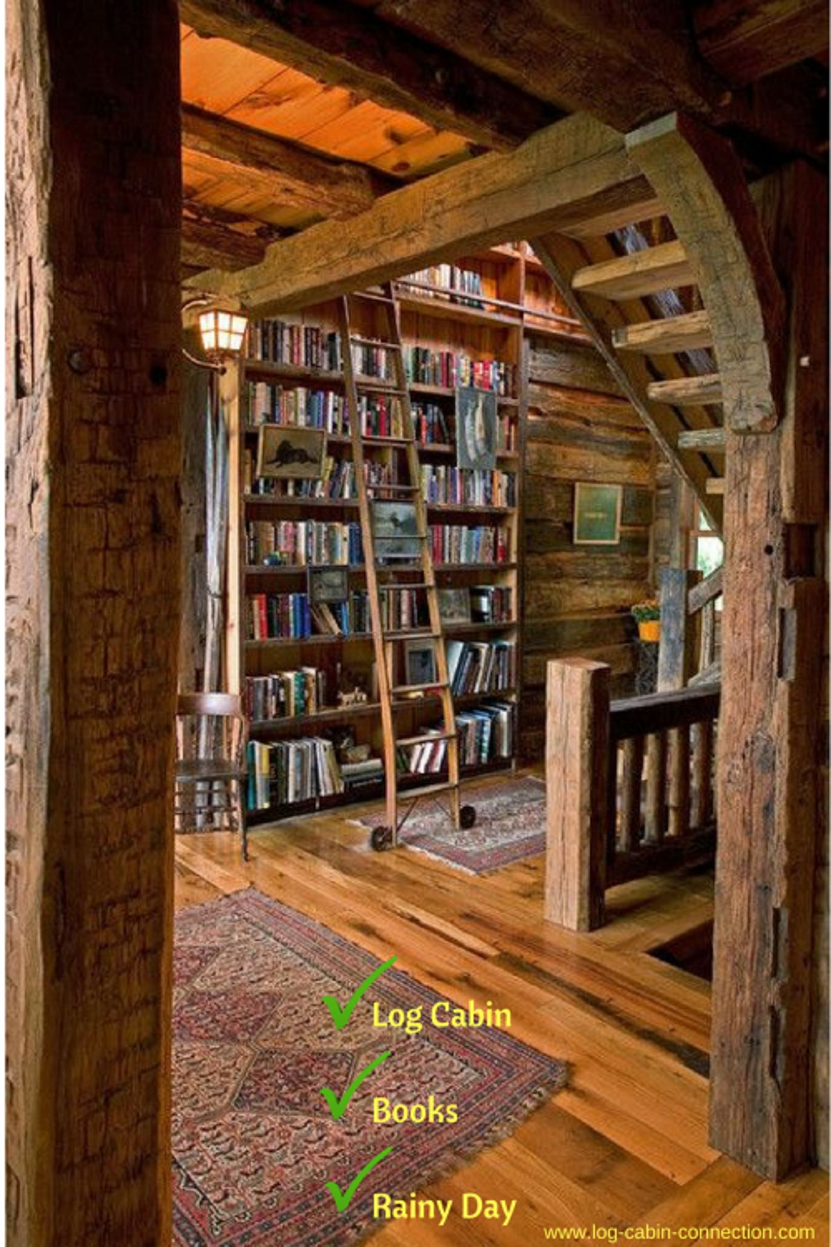 library in a log cabin