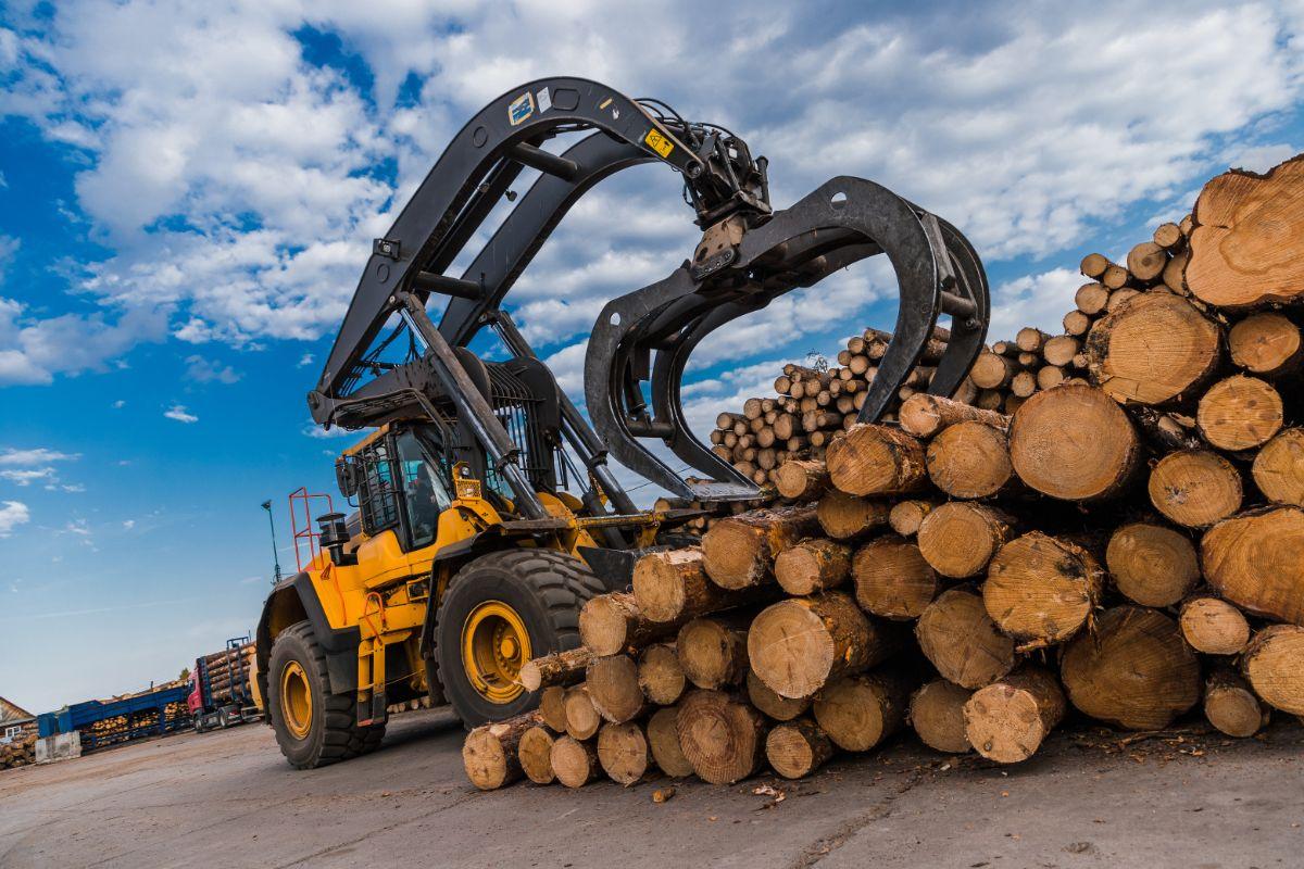 excavator moving logs
