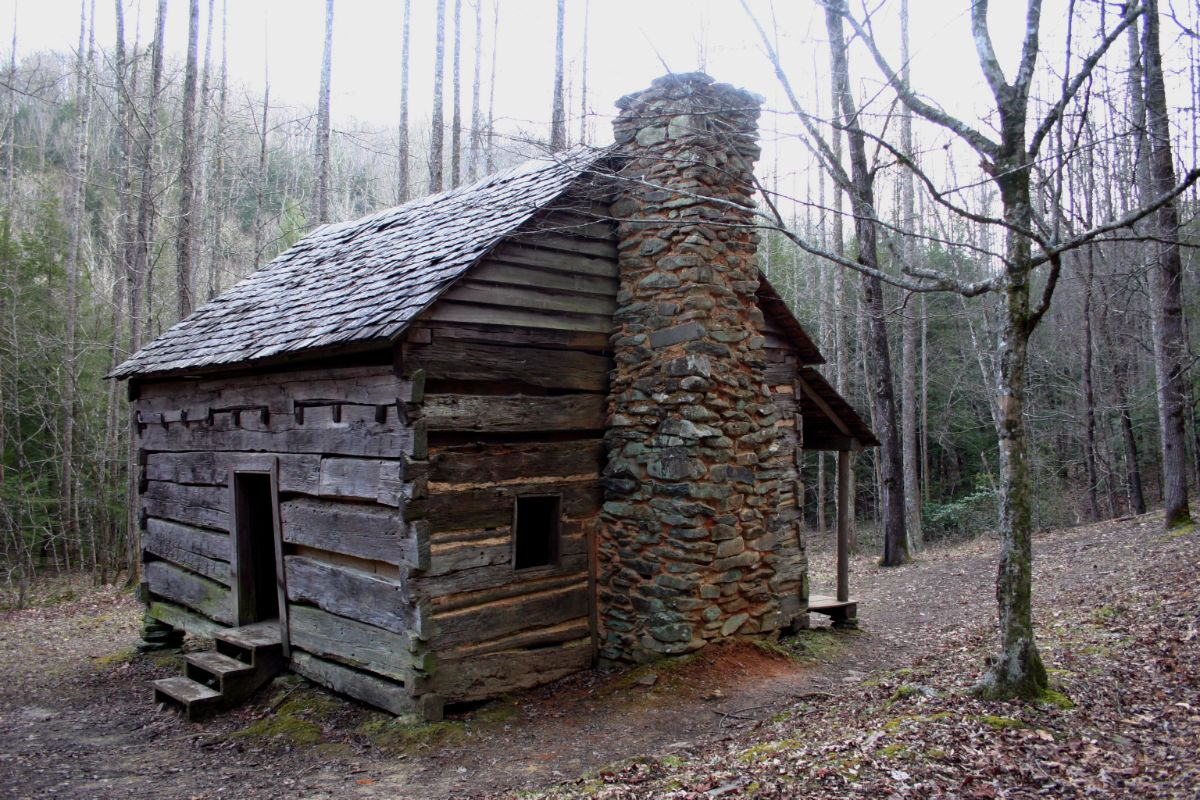 Old Log Cabin with stone wall in woods