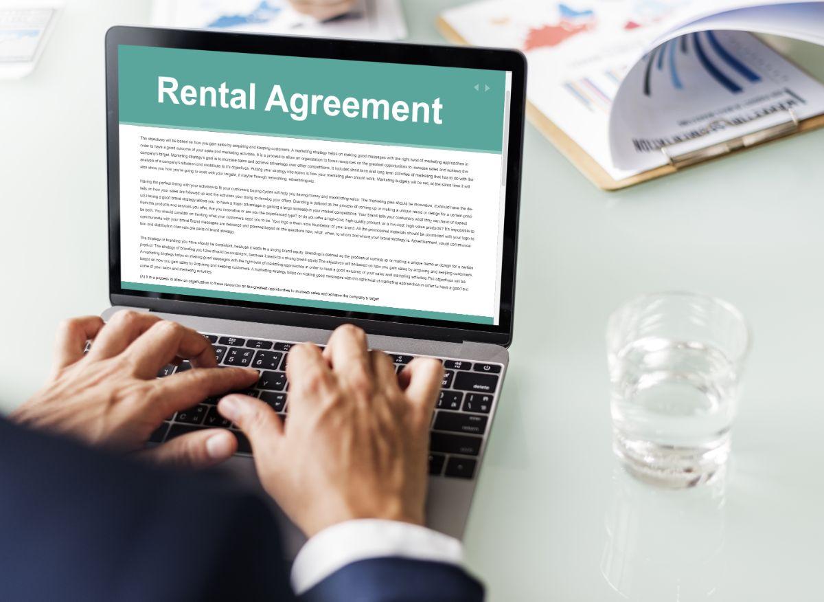 Rental agreement on laptop