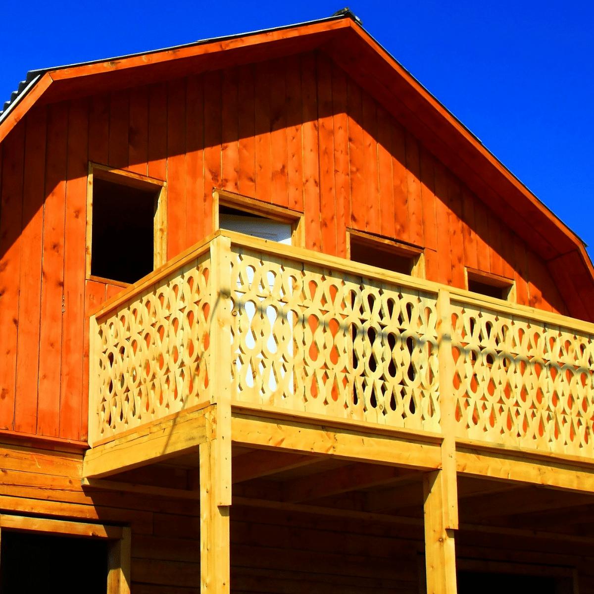 log home with balcony