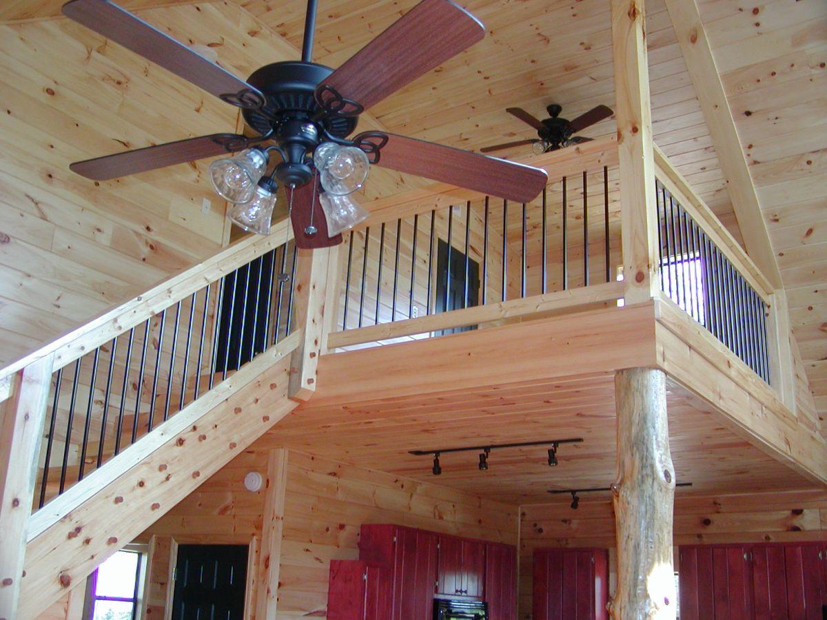 Building stairs with fancy chandelier fan