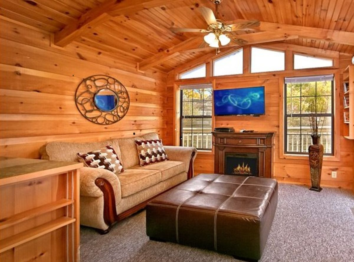 electric cabin fireplace in living room