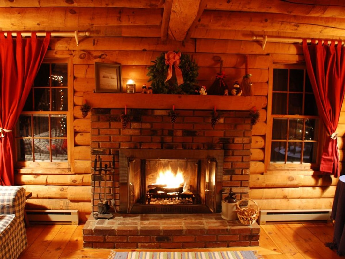 wooden cabin fireplace