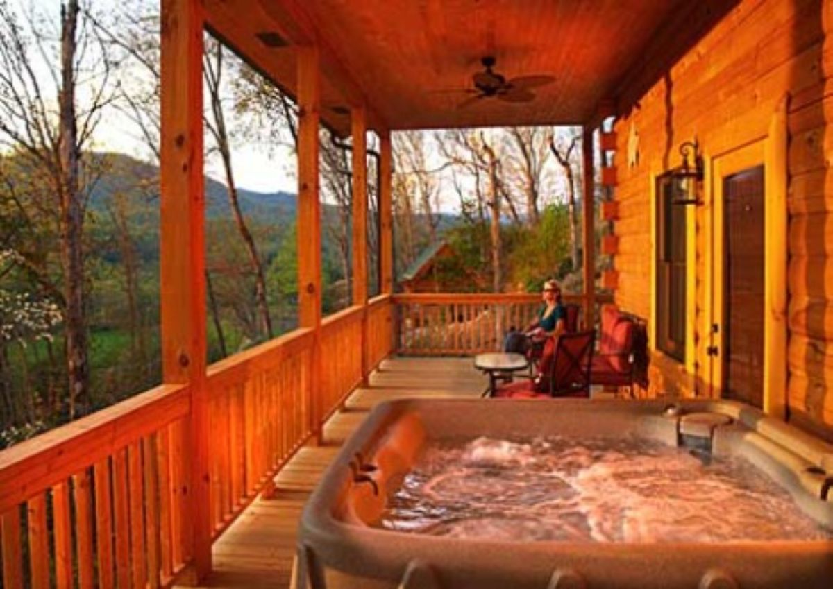 Log cabin and raffle hot tub