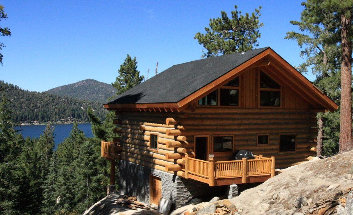Log cabin on slope
