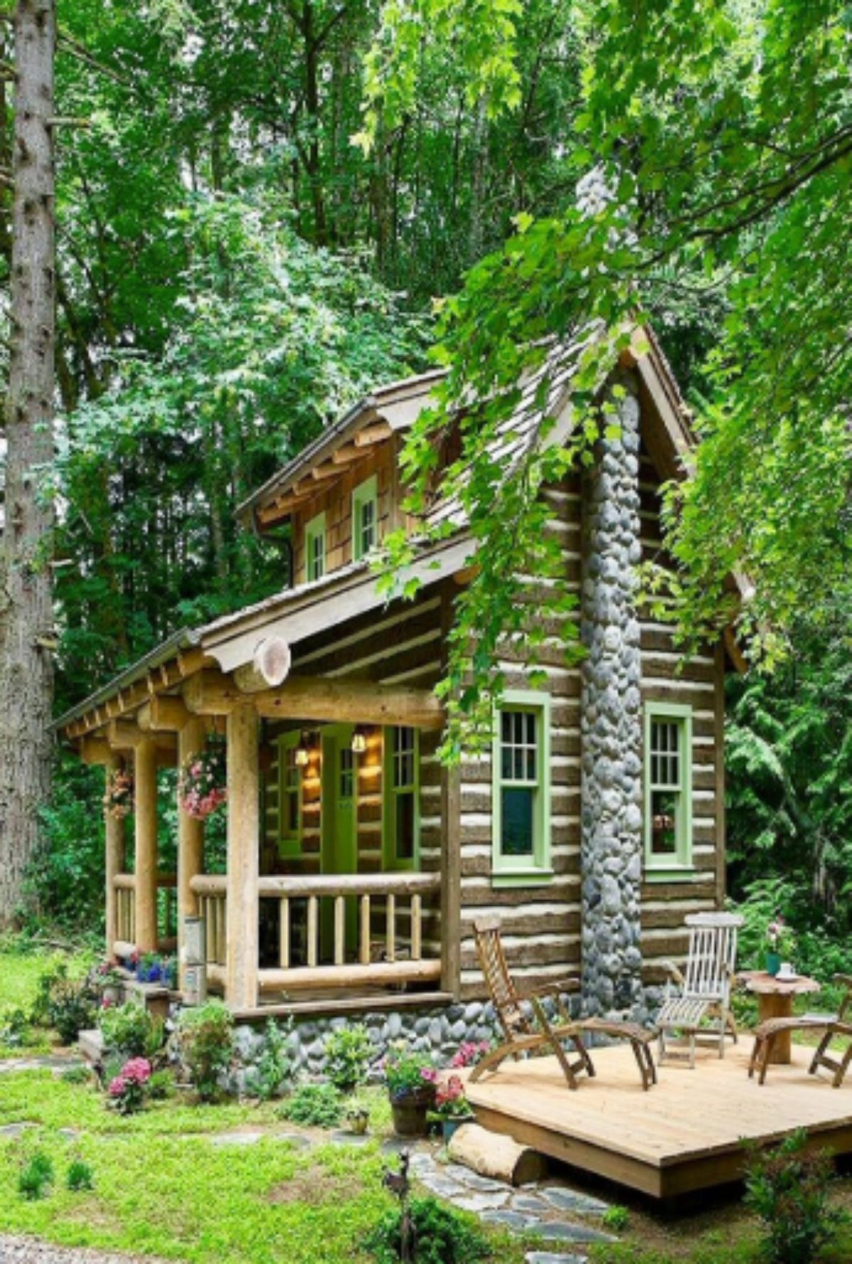 classic woodie log cabin with stone wall