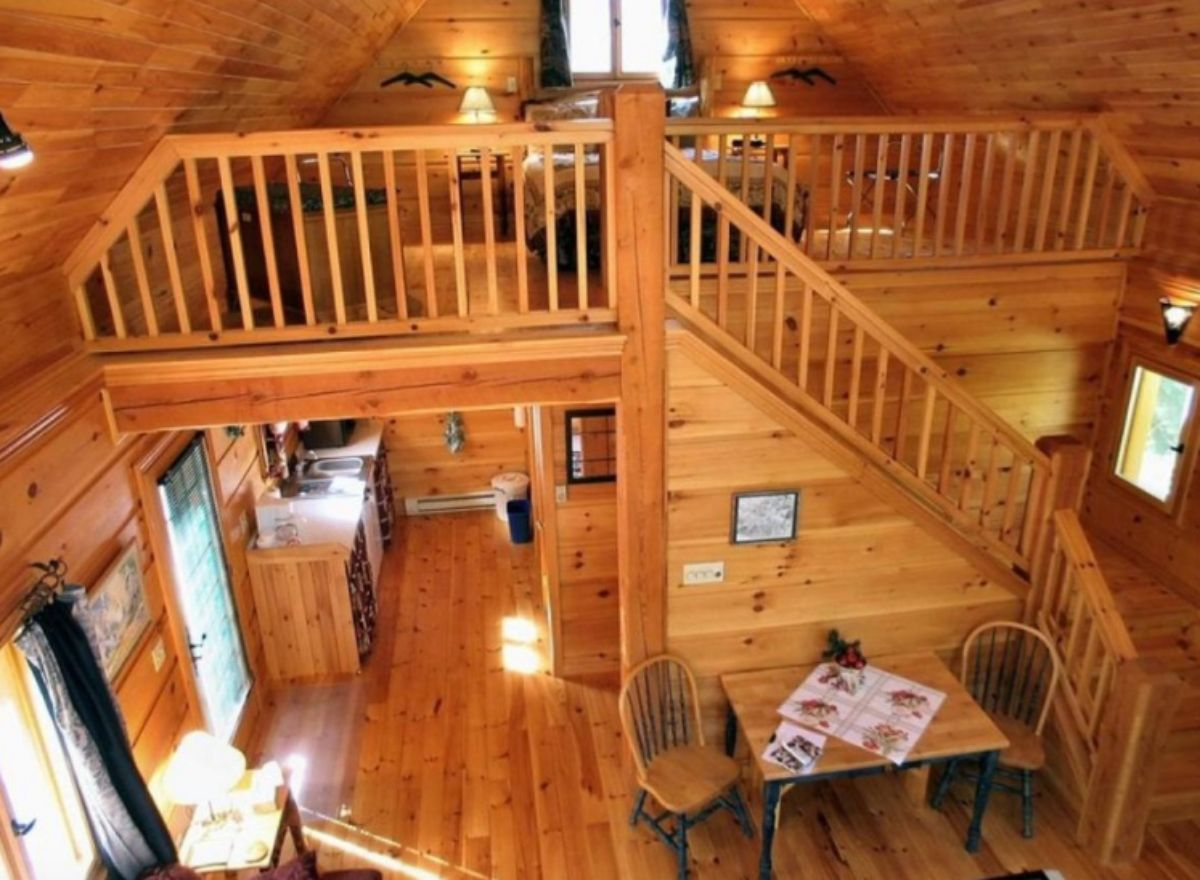 Log cabin with wooden stairs