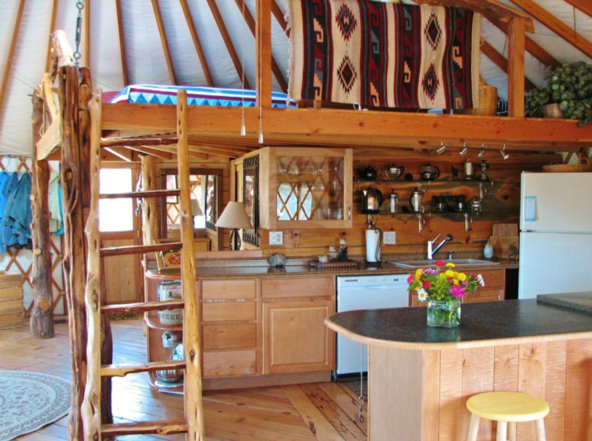 Log Cabin Kitchen with upper deck