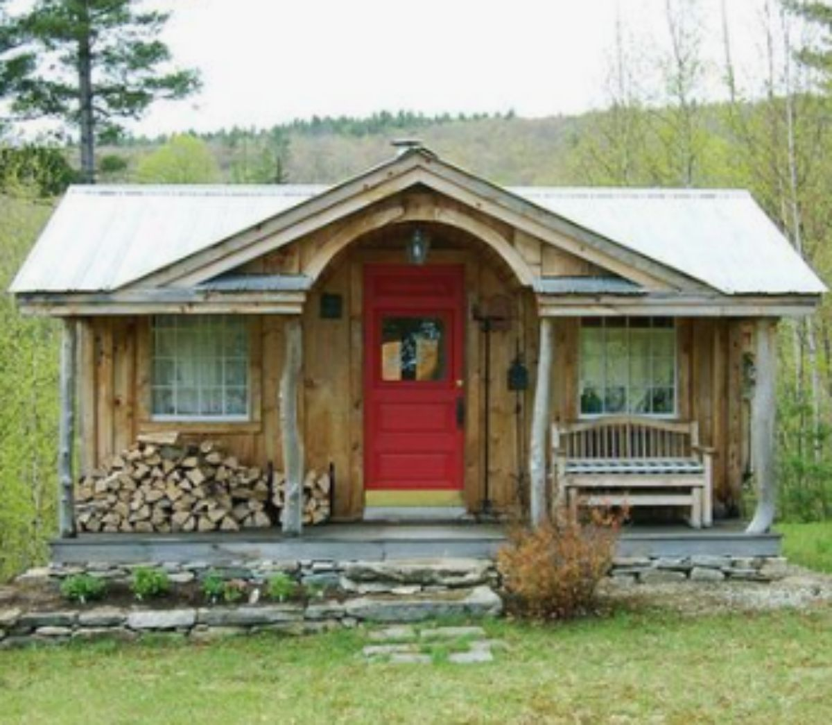 Old log cabin with stone