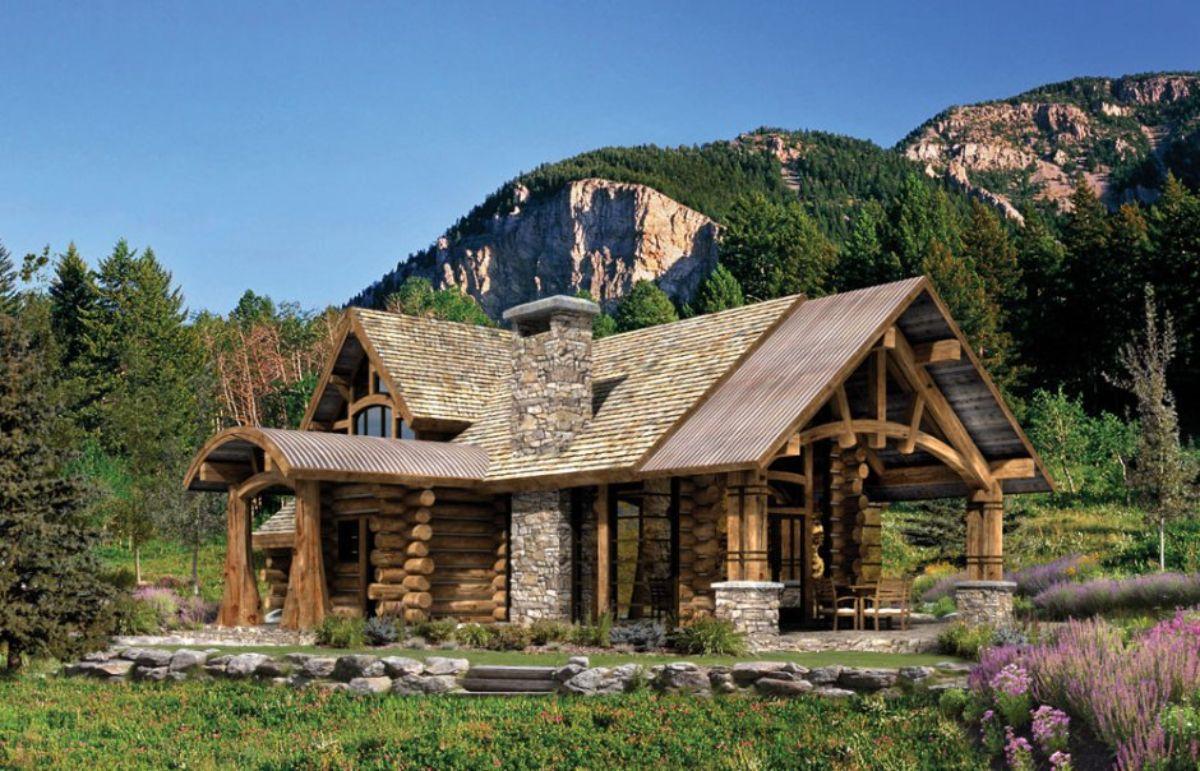 Log cabin in landscape