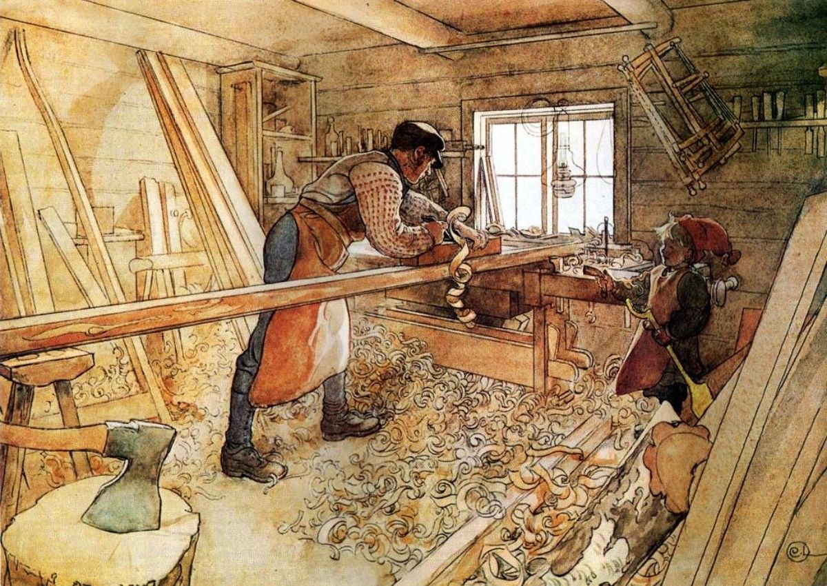 illustration of a man in a woodshop