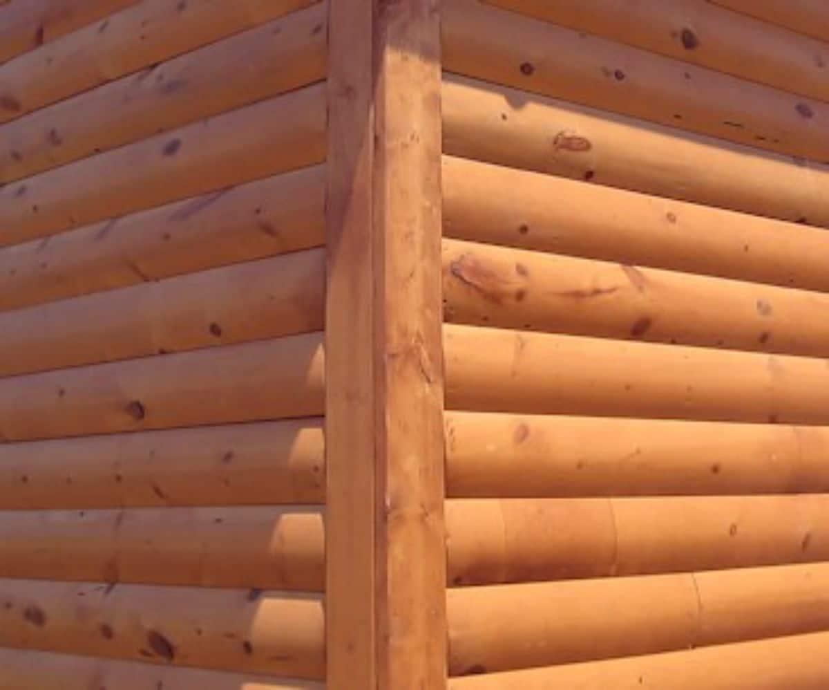 close up of log siding