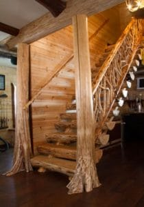 Log stairs with wooden railings