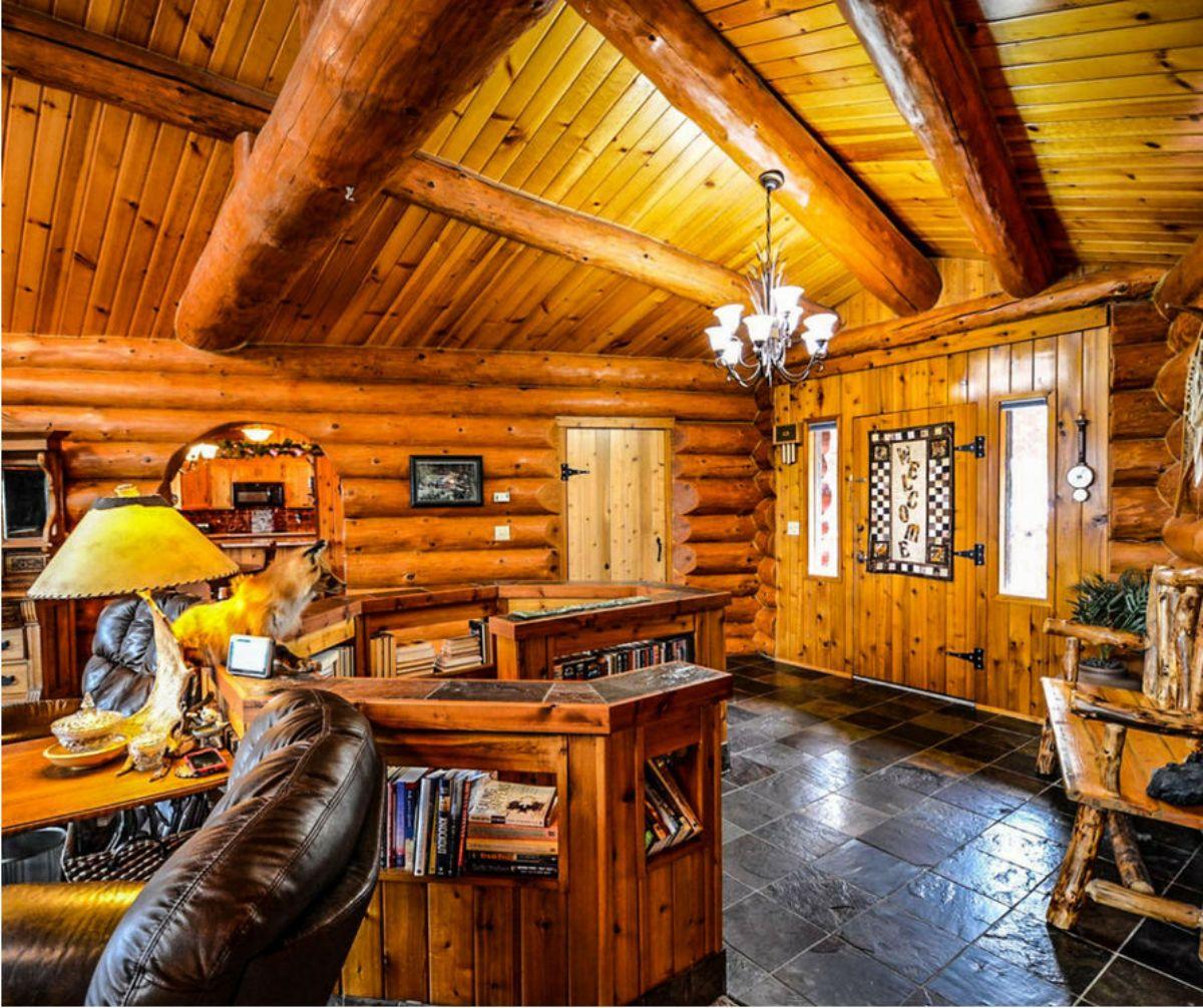 log cabin study room