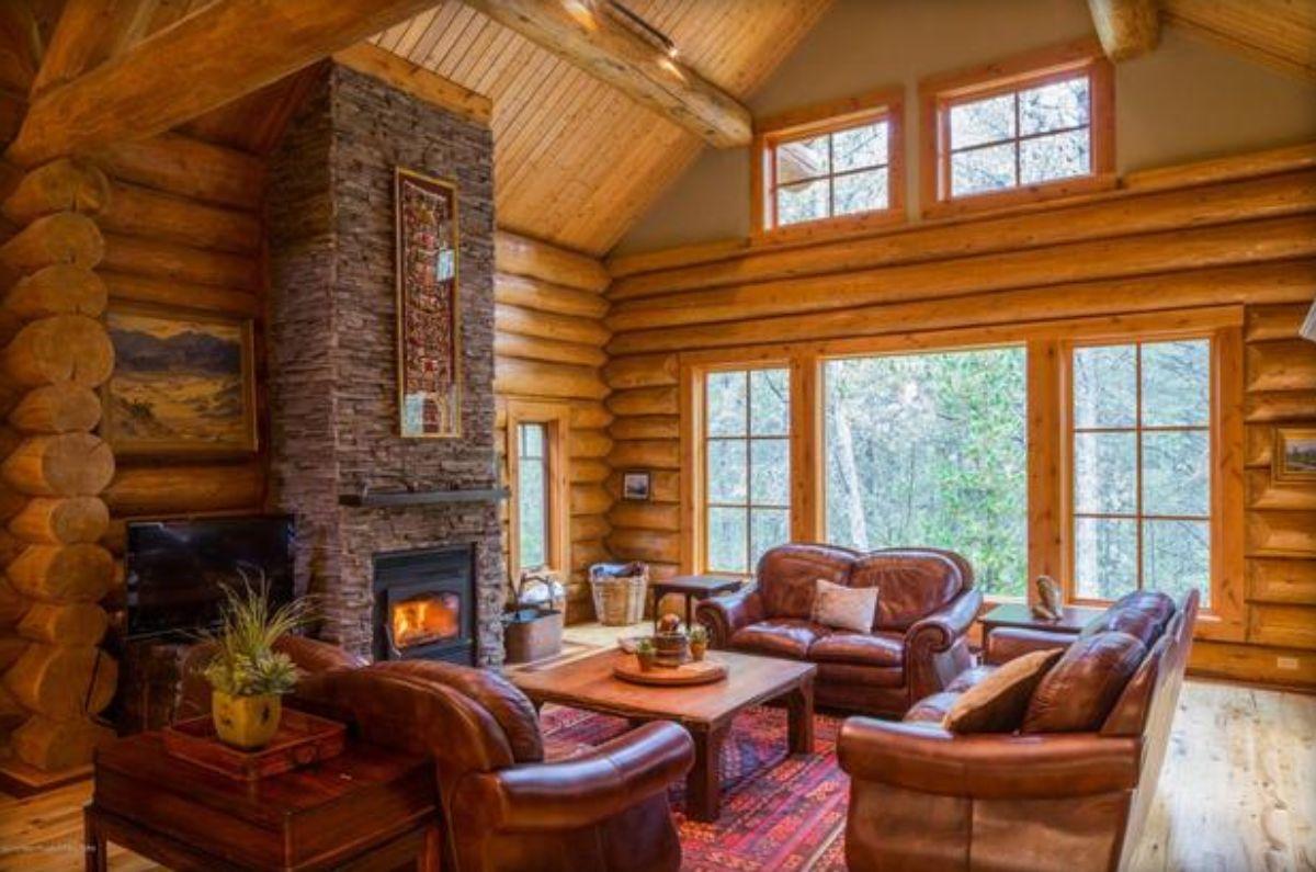living room interior of log home