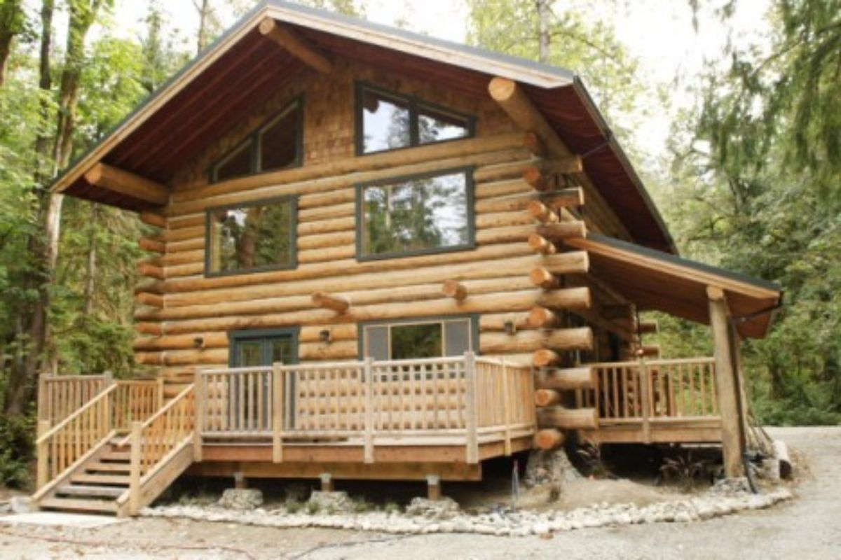 rustic log cabin with stairs