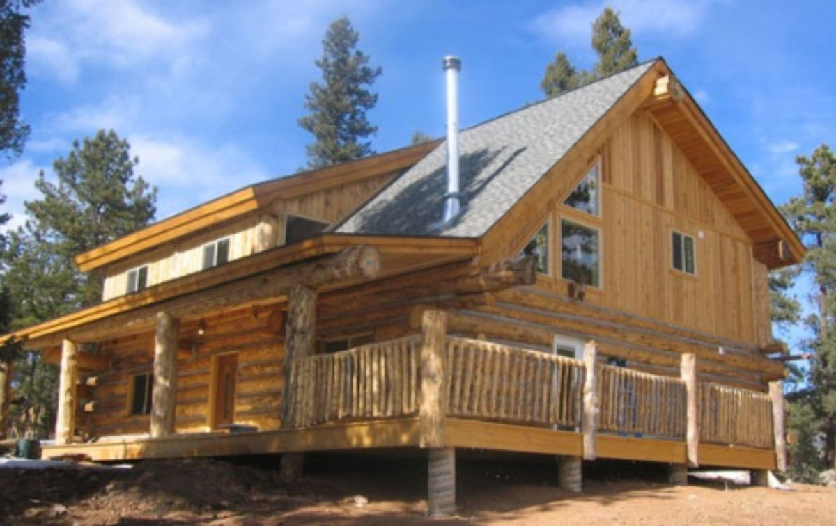 rustic log cabin with chimney