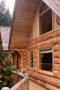 side angle view of a log home roof