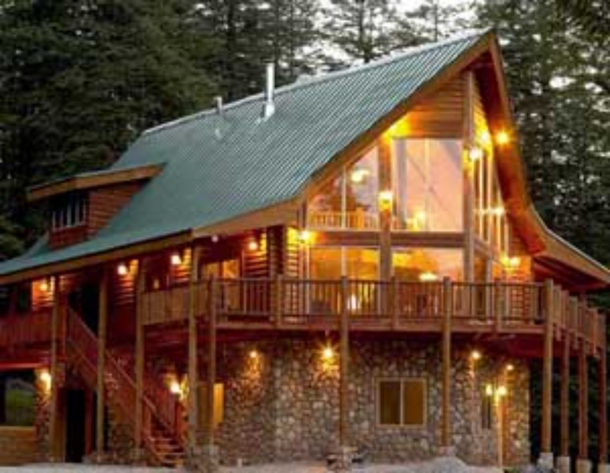 metal roof on a large log home