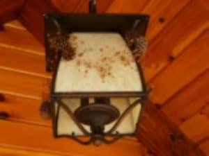 outdoor light installed in a log home