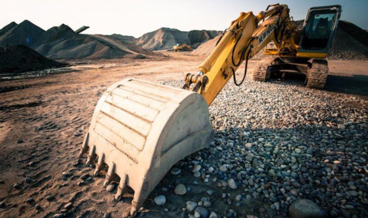excavator on rough land