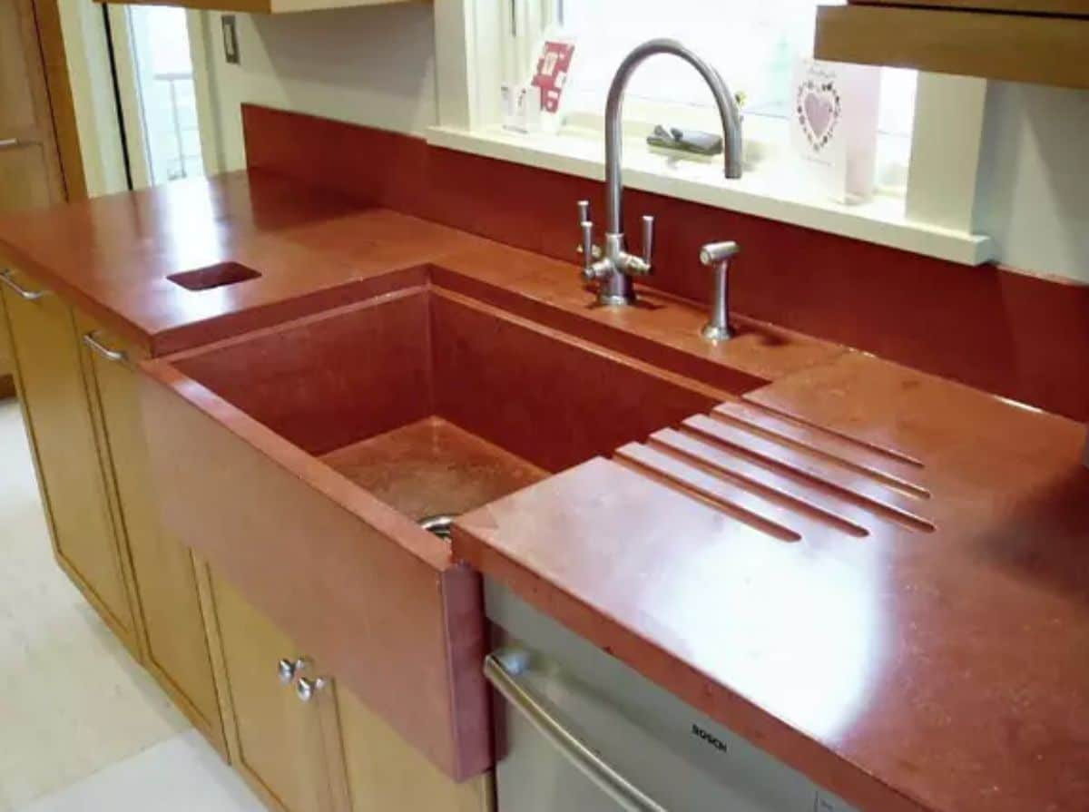 countertop in red wood