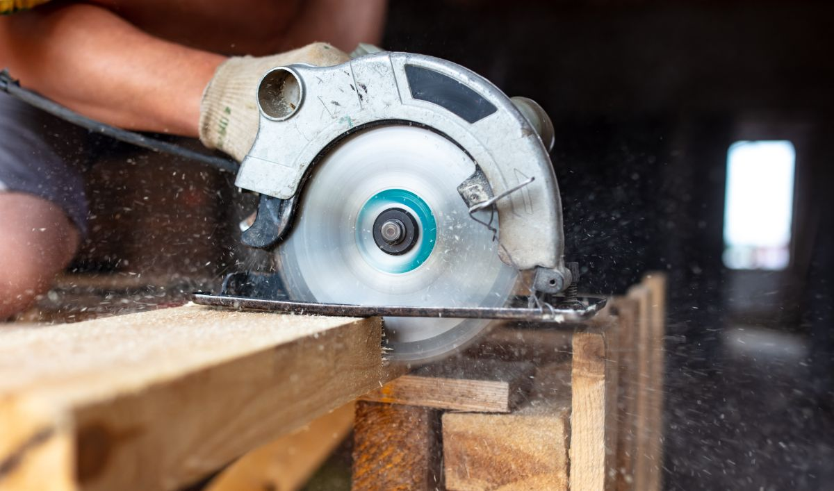 closeup of a circular saw being used