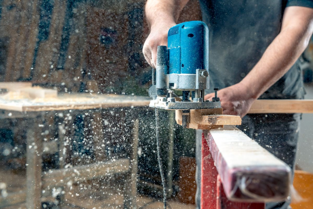 closeup of a beam cutter being used