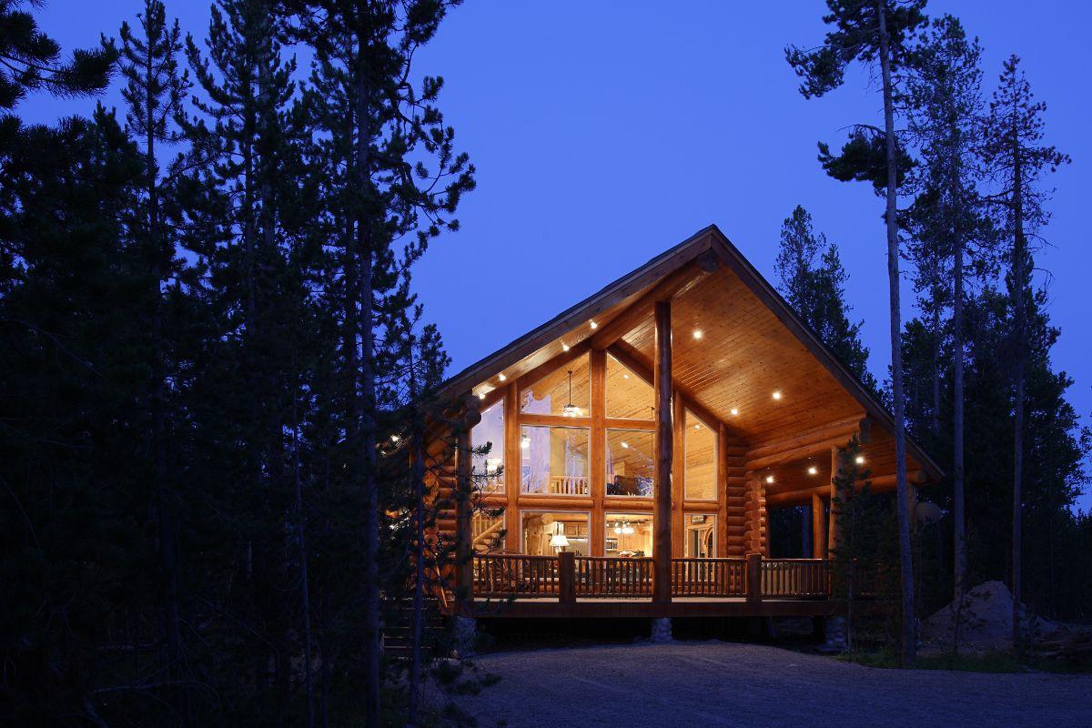 Log Cabin at night